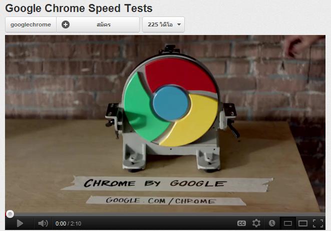 วีดีโอที่หน้าสนใจ Google Chrome Speed Tests