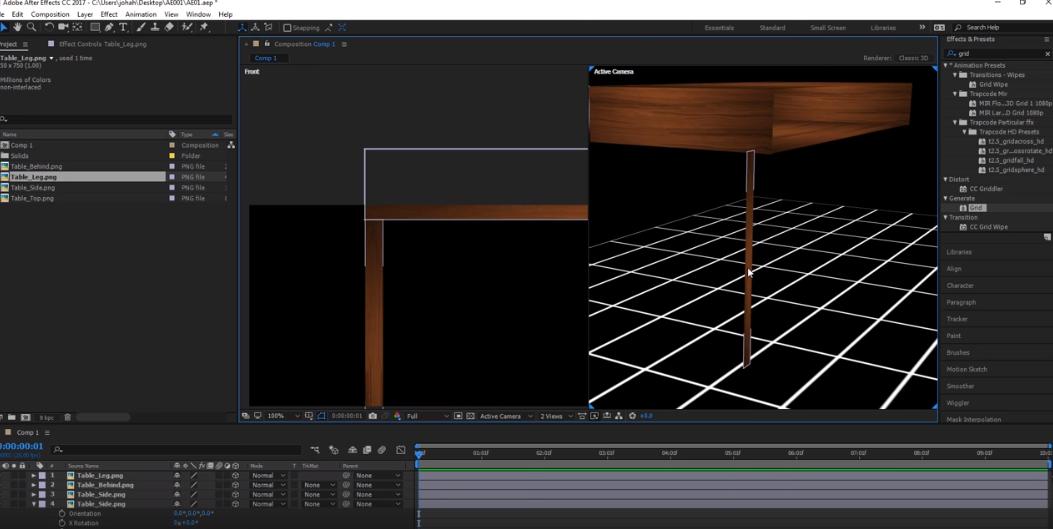MESISE : สอน AFTER EFFECT สร้างโต๊ะ เก้าอี้แบบ 3D Layer